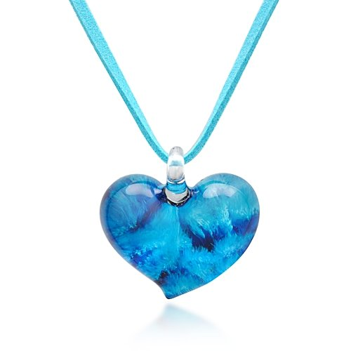 Hand Blown Venetian Murano Glass Blue Heart Shaped Pendant Necklace, 18-20 inches
