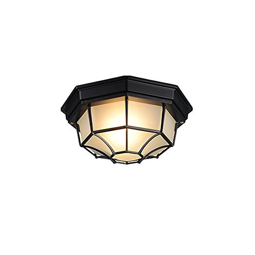 Outdoor Waterproof Ceiling Lamp American Balcony Lamp European Outdoor Patio Corridor Door Aisle Ceiling Lights ( Color : Black ) by JYKJ