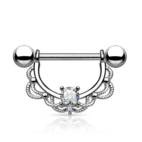 (14G Surgical Steel Opal Zircon Centred Drop Nipple Shield Bar Ring Piercing (Colors - Silver + Clear Zircon))