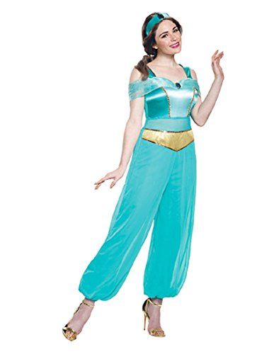 Disguise Adult Jasmine Deluxe Costume Teal and Gold -