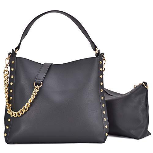 (2 Pcs Women Studded Hobo Handbags Soft Vegan Leather Purses Roomy Tote Bags Satchels W/Shoulder Strap)