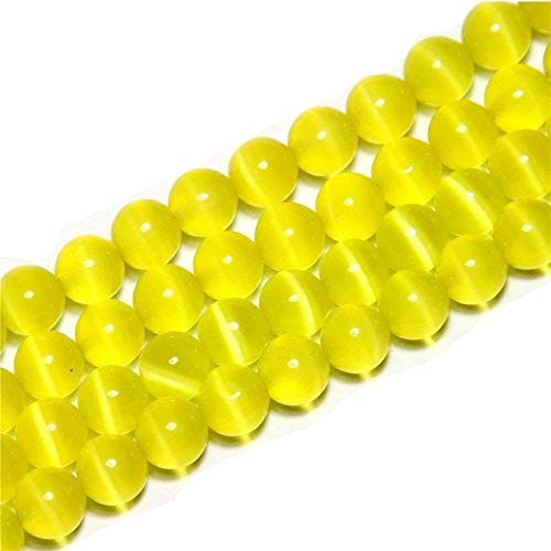 (10mm Yellow Cat Eye Beads Round Semi Precious Gemstone Loose Beads for Jewelry Making (38-40pcs/strand))