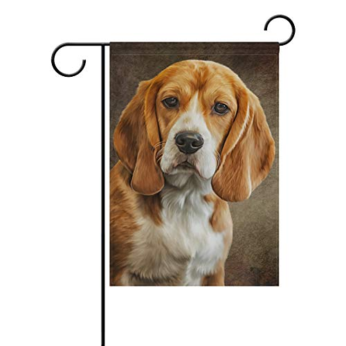 BlueViper Oil Painting Beagle Dog Garden Flag Banner 12 x 18 Inch Decorative Garden Flag for Outdoor Lawn and Garden Home Décor Double-Sided