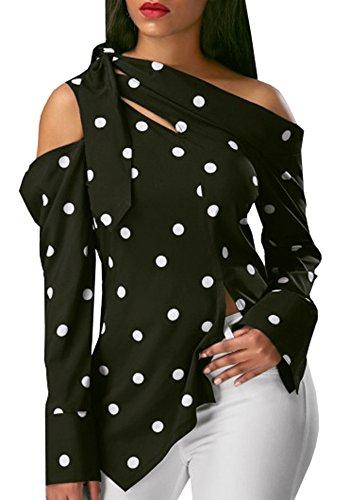 Vintage Womens Print Shirt - Ybenlow Women Summer Cold Shoulder Vintage Polka Dot Print Pullover Shirt Top Blouse