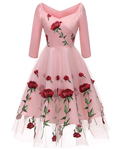Pink Tea Party Dress (Aofur Women's Vintage Style Rose Embroidered 1950s Rockabilly Evening Party Lace Swing Tea Dress A Line Dresses (X-Large,)
