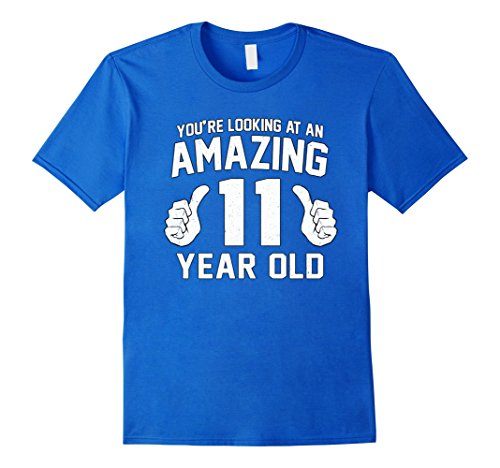 Mens Awesome 11th Birthday Saying Tee Funny 11 Year Old Boy Girl Large Royal Blue