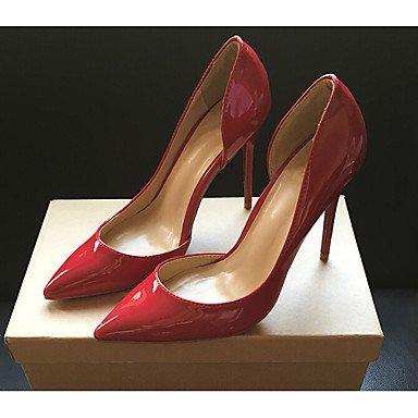 pwne Tacones mujer Primavera Verano iluminan zapatos de cuero Casual red 35