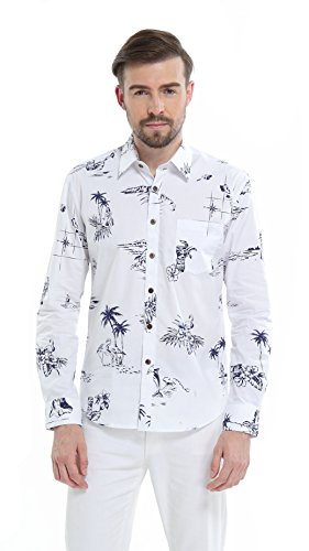 Hawaii Hangover Men's Hawaiian Long Sleeve Fit Shirt Aloha Shirt M Classic White - Aloha White Dress