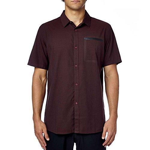 (Fox Racing Mens Fields Woven Button Up Short-Sleeve Shirt Large Burgundy)