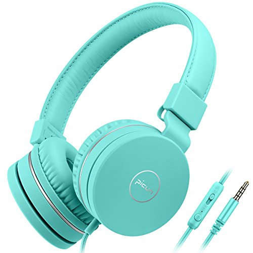 Kids Headphones Wired Toddler Headset with Mic 85dB Volume Limiting Stereo Foldable Lightweight Adjustable Children Headphones for Kids TV Tablets Laptops iPhone iPad Babies Boys Girls Picun - Green