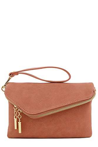 Mauve Clutch Wristlet Crossbody Strap Bag with Envelope Chain wBpq6HPPx