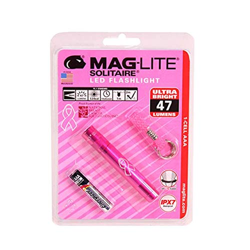 Maglite, Solitaire 1 Cell LED, AAA,NBCF, Pink, Blister Pack