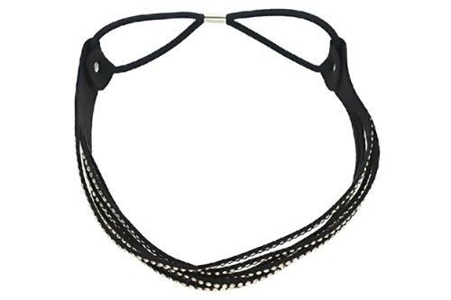 Black Goldtone Studded Stretch Hair Headband