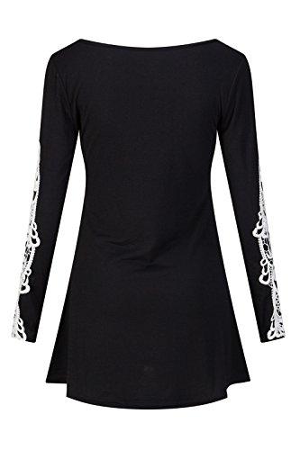 Beauty7 Encaje Floales Hueco Mangas Larga Camisetas Mujer Casual Cuello Redondo Blusas Verano Primavera Hot T Shirt Camisas Parte Superior Tops Tee Negro