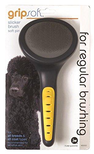 Slicker Brush Comb (JW Pet Company GripSoft Slicker Brush Soft Pin Dog Brush)