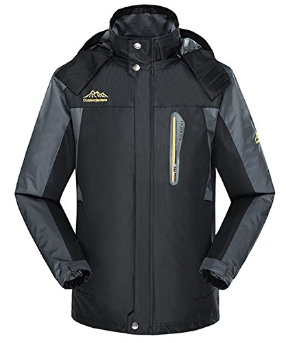 Jeater Men's Hooded Outdoor Hiking Windbreaker Breathable Waterproof Rain Jacket JT6029-Black-Medium