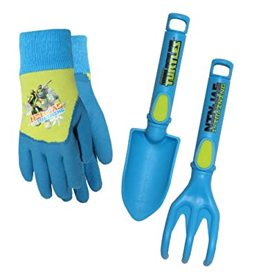 Teenage Mutant Ninja Turtles (TMNT) Kids Gloves with Trowel and Cultivator Combo Pack, TM14P04, Size: Kids