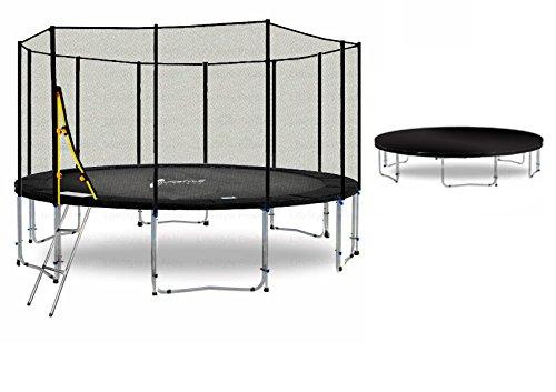 LS-T400-PA13 (SDW) DELUXE LifeStyle ProAktiv Garten- Trampolin 400 cm - 13ft - Extra Starkes Sicherheitsnetz - 180kg Traglast - TÜV/GS/CE
