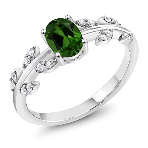 Gem Stone King 1.01 Ct Oval Green Chrome Diopside 925 Sterling Silver Olive Vine Ring (Size 6)