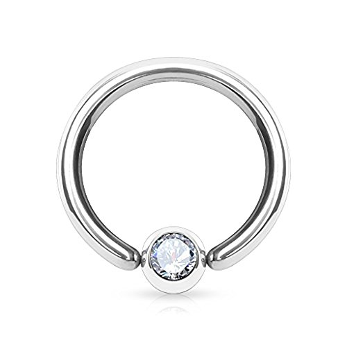 (Dynamique 316L Surgical Steel Gem Set Fixed One End Ball Hoop Ring (Sold Per Piece))