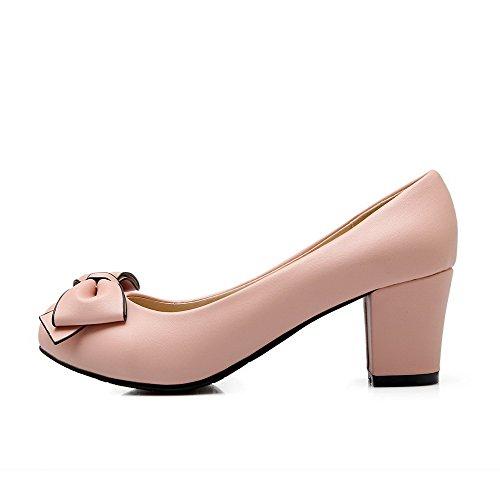 AgooLar Damen Rund Zehe Mittler Absatz Weiches Material Rein Ziehen auf Pumps Schuhe Pink