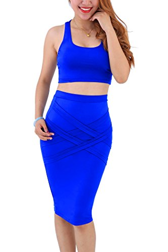 YMING Women Crop Top and Skirt Outfit Two Pieces Bodycon Clubwear Dress Blue XL Blue Skirt Outfit