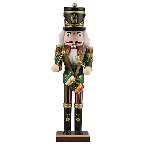 TTLIFE Wooden Nutcracker Decor with Trumpet,Spear,Drum or Sword,Perfect Decoration 12-Inch Tall (Drum) for Valentine's Day for Husband 's Love