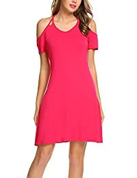 Meaneor Women's Cutout Cold Shoulder Short Sleeve Casual Shift Dress Tunic Top