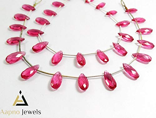 Pink Tourmaline Faceted Drops - 1 Strand Natural Pink Tourmaline Hydro Loose Beads Strand, 7x15mm 10 Inch Faceted Pear Drops Tourmalin Beads, Tourmaline Beads Necklace, Jewelry Making Tourmaline Beads, Knotted Tourmaline Necklace