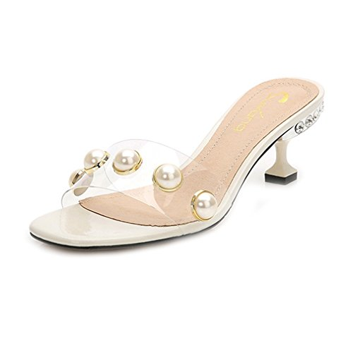 Clear Stilettos Low Heel Pearl Slide Sandals Open Toe Platform Mules Dress Pump Sandal ()