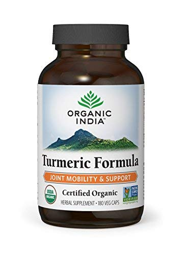ORGANIC INDIA Natural Turmeric Curcumin Supplement, USDA Certified Organic, High Bioavailability Formula, 180 Veg Capsules
