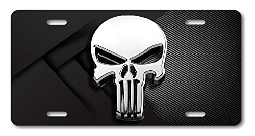 Voss Collectables Punisher License Plate Car Auto Truck SUV Skull Tag Vanity Front USA Silver ()