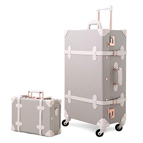 Mosslanda Vintage Suitcase Set Retro Trunk Spinner Carry On Luggage with Handbag