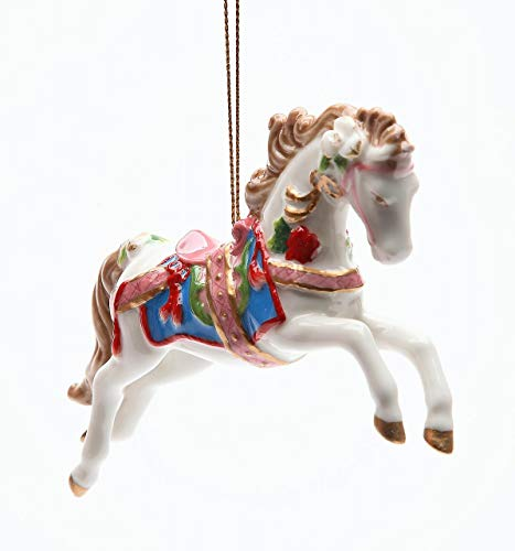 - Cosmos Gifts Fine Porcelain Christmas Holidays White Carousel Horse Tree Ornament Figurine, 4-7/8