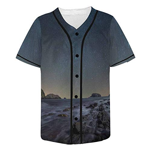 InterestPrint Men's Night Scape in The Beach of The Sea Coast Baseball Jersey Button Down Short Sleeve Shirt 4XL