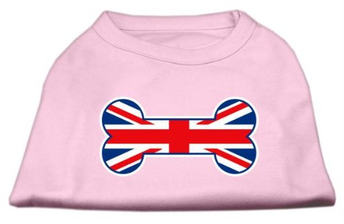 (Mirage Pet Products 8-Inch Bone Shaped United Kingdom Union Jack Flag Screen Print Shirts for Pets, X-Small, Light Pink)
