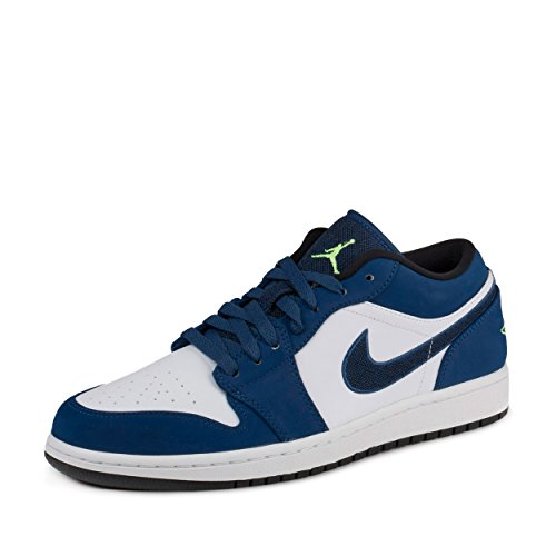 Nike Mens Air Jordan 1 Low Insignia Blue/Ghost Green/Wolf Grey-Black Leather Size 12 (Black And Blue Jordans compare prices)