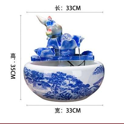 Fuente de agua de cerámica china humidificador adornos regalos empresariales inauguracion Salon Feng Shui suerte acuario de escritorio,E: Amazon.es: Hogar