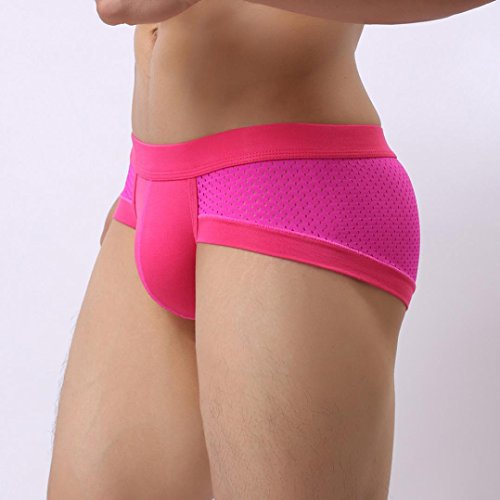 NEARTIME Men's Underwear, Mens Low Waist Boxers Briefs Men Underpants Soft Shorts (M, Hot Pink) … by NEARTIME (Image #3)