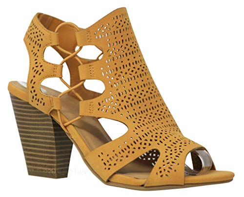 Dress Yellow Sandals (MVE Shoes Open Toe Perforated Lace up Elastic Side Stacked Chunky Heel Sandal, ZUKA MUS NBPU 8)