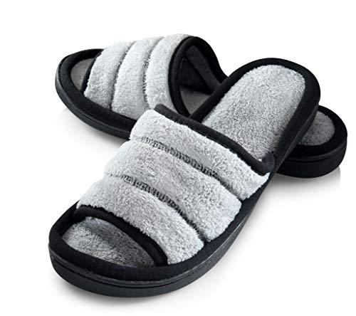 Roxoni Womens Open Toe Slippers, Medium / 7.5-8 B(M) US, Gray ()