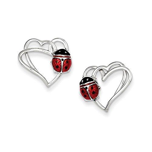 Sterling Silver Enameled Ladybug Heart Post Earrings (0.5IN x 0.5IN)