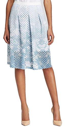 Elie Tahari Women's Mirella Green Printed Perforated A-line Scuba Skirt t Multi Size 6