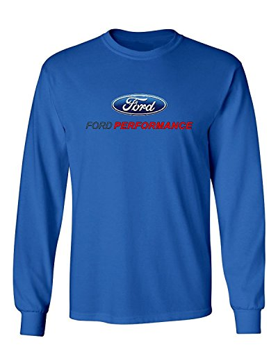 Lucky Ride Ford Performance Long Sleeve Tee Mustang GT ST Racing (Front Print),Royal Blue,L