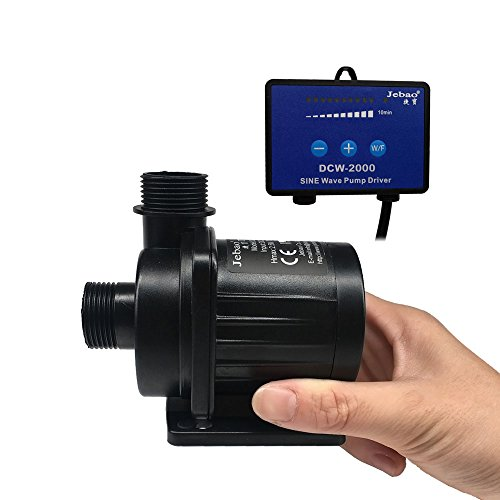 Jebao DCW-2000 dc water pump with sine Controller 528GPH 20W 8.2ft high lift for aquarium marine reef fish tank ()