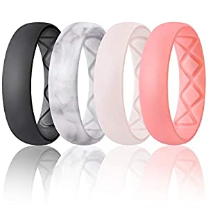 Egnaro Inner Arc Ergonomic Breathable Design, Silicone Rings for Women wiith Half Sizes, Women's Silicone Wedding Band…