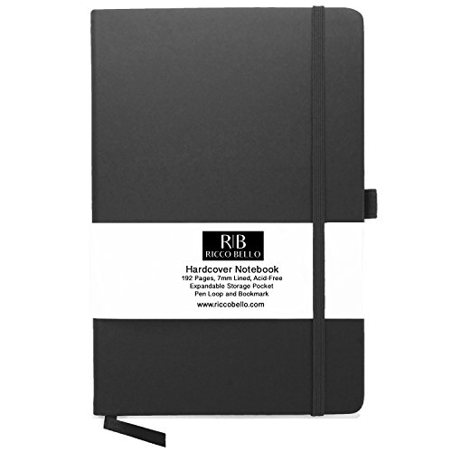 - RICCO BELLO Classic Ruled Notebook with Pen Loop / 5.7 x 8.4 inches (Black)