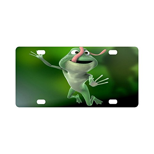 - Birthday Novelty Gifts Presents Cute Tree Frog Pattern Durable License Plate Frame Metal Personalized Car Tag 12 X 6 inches (4 Holes)