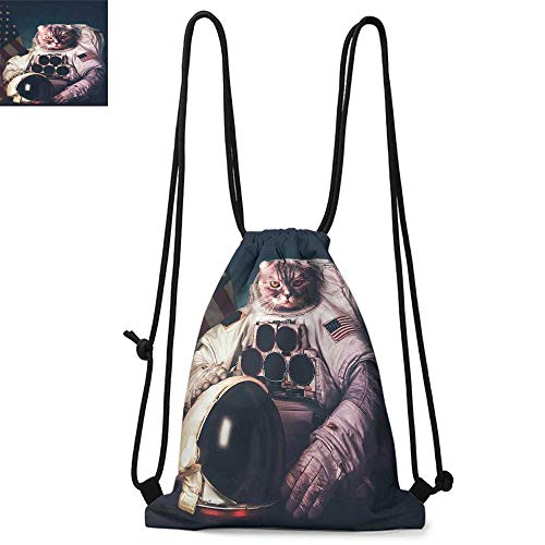 Space Cat Durable Drawstring Backpack Vintage Image Astronaut Kitty with American Flag Patriot AnimalSuitable for carrying around W13.8 x L17.7 Inch White Red and Dark Blue