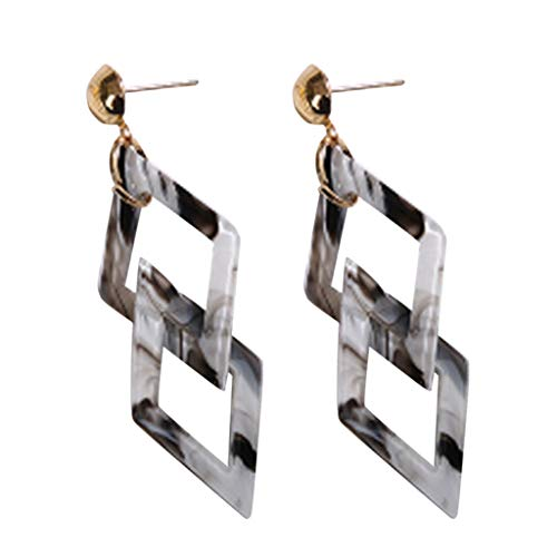 (Redvive Top Vintage Acrylic Acrylic Geometric Double Quadrilateral Earrings Women's Jewelry)